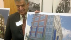 Mayor with Harbor Place drawing