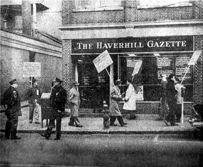 Members of Local 38 International Typographical Union picket outside the Haverhill Gazette on Merrimack Street in downtown Haverhill in 1957.