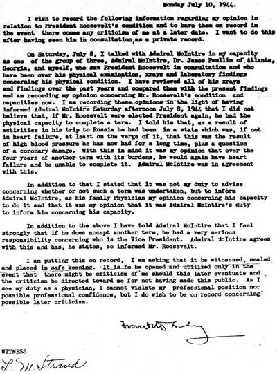 Dr. Frank Lahey's secret memo of July 10, 1944.