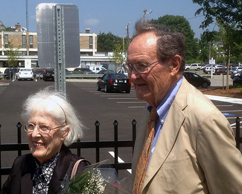 Former Northern Essex Community College President John R. Dimitry, right, attended the dedication with his wife Audrey.