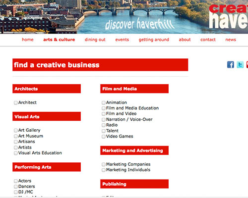 The original Creative Haverhill website featured a method of finding creative businesses.