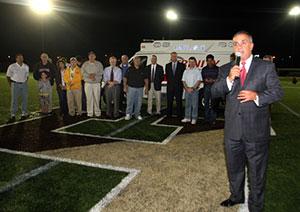 Trinity E.M.S. President John Chemaly during the 2011 dedication of Trinity Stadium, Haverhill.