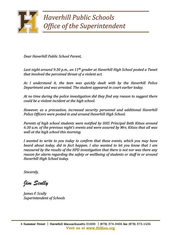 Letter from Haverhill Superintendent of Schools James F. Scully.