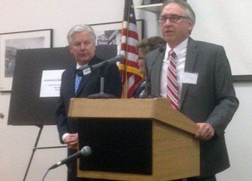 UMass-Lowell Chancellor Martin Meehan with Greater Haverhill Foundation Manager Ronald Trombley.