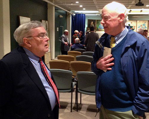 A reunion of sorts took place when Louis H. Hamel Jr., left, talked with Haverhill Attorney John J. Ryan III. Ryan's father was the attorney for Hamel's father.