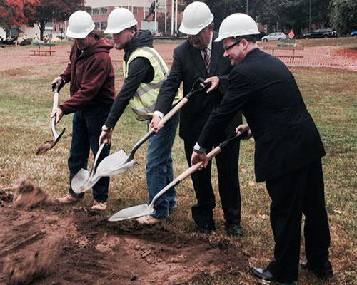 Rep. Brian S. Dempsey joins Mayor James J. Fiorentini for a ceremonial groundbreaking at GAR Park.