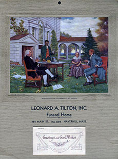 A 1936 calendar distributed by the former Leonard A. Tilton Funeral Home.