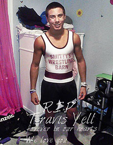 A photograph salutes Travis Yell on his Facebook page.
