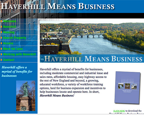 The original Haverhill Means Business website from 2004.