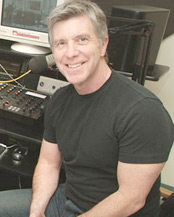 Tom Bergeron in WHAV's new Ward Hill studios during 2007.