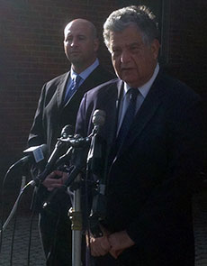Among those at Friday morning's press conference were Haverhill Police Lieutenant Robert P. Pistone and Mayor James J. Fiorentini.