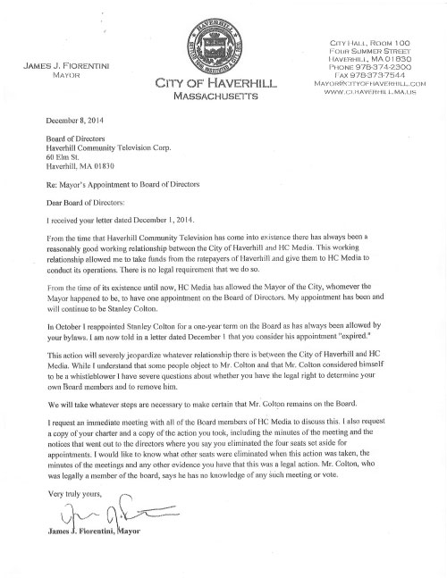 Letter from Mayor James J. Fiorentin to HCTV's board of directors.