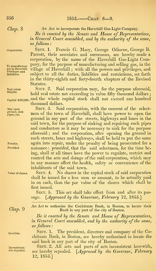The legislative act creating the Haverhill Gas Light Co, in 1853.