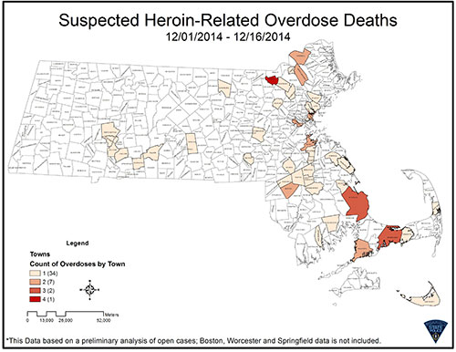 A map of suspected heroin overdose locations and numbers between Dec. 1 and 16, 2014 in Massachusetts. Boston, Springfield and Worcester data is not included in this chart.