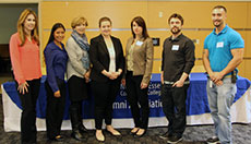 Brittany Anzalone, Gladys Martinez, Ellen Small Davis, Reanne Malesky, Bel Andrickson, Tim Field, and Matt Tascon were part of an NECC Alumni that spoke to student in the NECC Internship program.