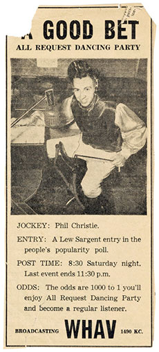 "A youthful Phil Christie serves as disc ""jockey"" for WHAV's ""All Request Dancing Party."" To help explain the term, WHAV dressed Christie in a jockey costume and used a horse race theme in advertising."