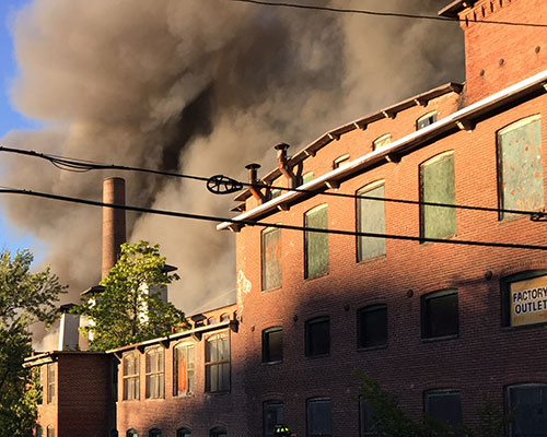 Dark black smoke billowing from the Stevens Street building was visible from nearly all areas of the city.