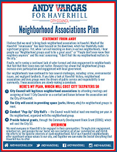 Haverhill City Council Candidate Andy Vargas is distributing a flyer, outlining his neighborhood plan.