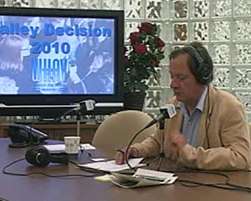 WHAV's board room doubles as a large studio for special events. Here. Jack Bevelaqua delivers election returns in 2010.
