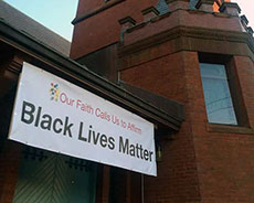 "The ""Black Lives Matter"" banner at Haverhill's Universalist Unitarian Church."