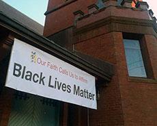 "The ""Black Lives Matter"" banner at Haverhill's Universalist Unitarian Church."