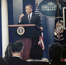 While in Washington, D.C., City Councilor Andy Vargas attended President Barack Obama's press briefing, (Courtesy photograph.)
