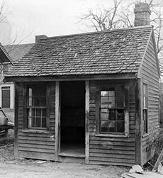 Rocks Village Toll House after it was moved and in the condition it was found by Henry Ford. (From the Collections of The Henry Ford.)