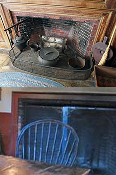 The Whittier Birthplace fireplace, top, may have served as a template for the restoration of the Henry Ford-owned Wayside Inn's fireplace.