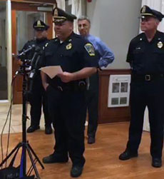 Methuen police and Mayor Stephen N. Zanni at a press conference Thursday night.
