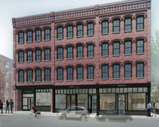 Architect's vision of the former Surplus Office Supply building, Washington Street, downtown.