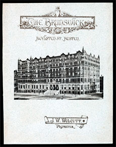 A menu from Hotel Brunswick, Boston