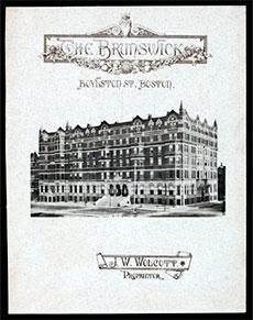 A menu from Hotel Brunswick, Boston