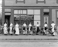 An early bicycle fleet.