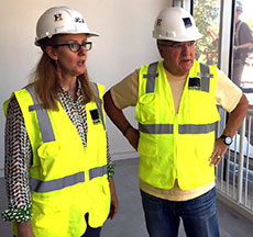 Katy Lillian of JCJ Architecture and Haverhill School Superintendent James F. Scully during a recent site walk. (WHAV News photograph.)
