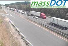 A MassDOT camera illustrates gridlock near I-495, exit 51.