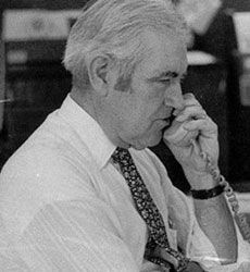 "Bernard J. ""Barney"" Gallagher  in the former Haverhill Gazette newsroom."