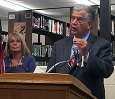 Haverhill High School Principal Beth Kitsos and Mayor James J. Fiorentini.