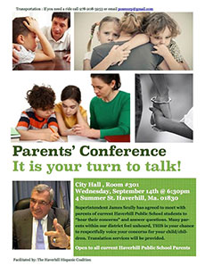 Poster advertising parents meeting.