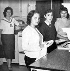 A domestic arts class in the building at 20 Newcomb St. during the 1950s.
