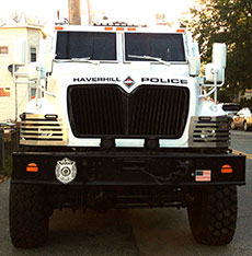 Front view of Navistar International truck deployed by Haverhill Police. (WHAV News photograph.)