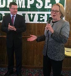 State Rep. Brian S. Dempsey and Congresswoman Niki Tsongas. (WHAV News photograph.)