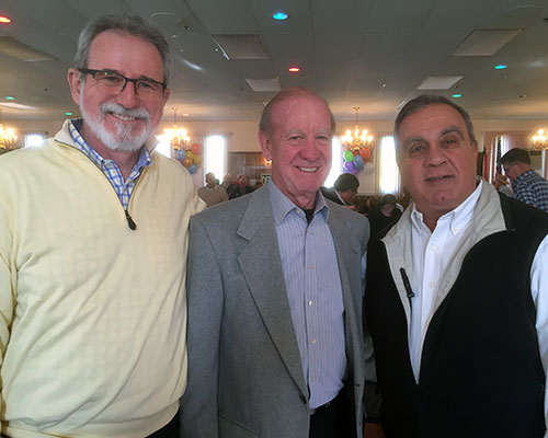 Greater Haverhill Foundation Director Vincent P. O'Rorke, O'Connor Studios leader Jack O'Connor and Trinity EMS President John P. Chemaly. (WHAV News photograph.)