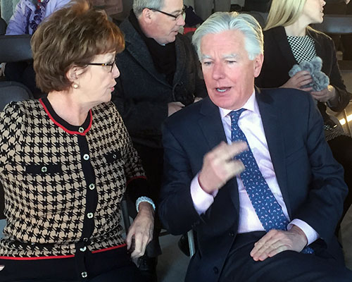 UMass President Marty Meehan shares a thought with UMass Lowell Chancellor Jacquie Moloney. (WHAV News photograph.)