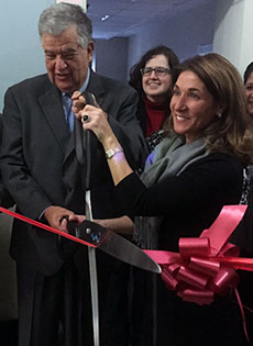 Mayor James J. Fiorentini and Lt. Gov. Karyn Polito cut the ceremonial ribbon at the new 311 call center adjacent to the mayor's office. (WHAV News photograph.)