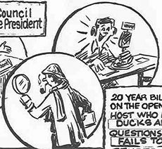 A portion of late City Councilor William C. Pike's re-election cartoon, depicting Pike as a former Open Mike Show host.