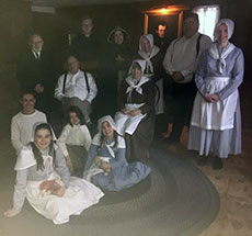 The cast of  'Snow-Bound' performed in front of the very hearth described by John Greenleaf Whittier. (WHAV News photograph.)