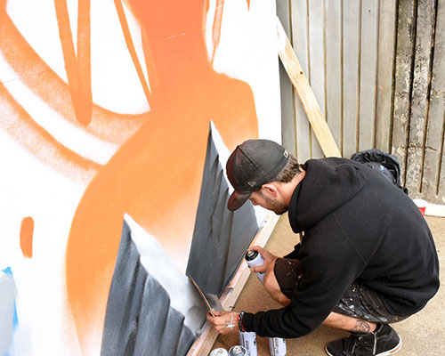 New works of art brought color to Merrimack Street. (Jay Saulnier photograph for WHAV News.)