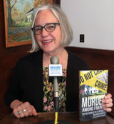 """Edith Maxwell reads from her contribution to """"Murder Among Friends"""" at Whittier Birthplace Sunday."""