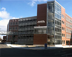 Merrimack Valley Regional Transit Authority parking garage in downtown Haverhill.