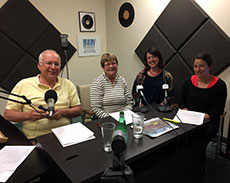 Host Frank Komola with Tina Fuller, Jaime De Simone and Lauren Sprague.